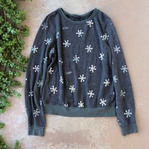 Wildfox Snowflake Olive Pullover Sweater BBJ